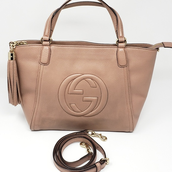 0e0409d0d23 Gucci Handbags - 100% Auth Gucci SOHO TASSEL BEIGE 2 Way Handle Bag